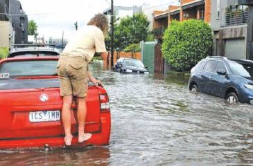 Glass Street in Richmond floods after heavy rains. Pic: News Corp Australia