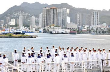 Navy personnel of ship P 626 at the port of Honolulu in Hawaii, USA