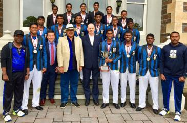 Front row from left: Dinesh Kumarasinghe (Director of Cricket), Kalana Perera, Troy McKinnon (Director of Co-Curricular Activities PAC), Rev. Marc Billimoria (Warden), Greg Chappell (former Australia captain), Dellon Pieris (captain), Dulith Gunaratne (vice-captain), Sithara Hapuhinna (secretary), Dilshan Mendis (assistant coach). Second row from left: Thevin Eriyagama, Shalin de Mel, Manisha Rupasinghe, Manthila Wijeratne, Shannon Fernando and Kishan Munasinghe. Back row from left: Gavin Boteju, Semal Sama