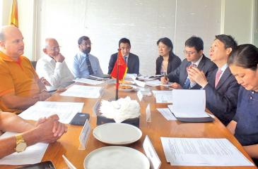A discussion  on 'Cooperation between China and Sri Lanka in developing production capacity within the framework of BRI'.