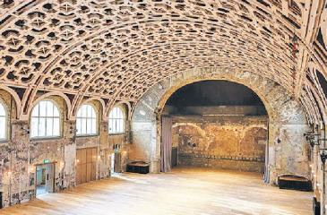 The grand hall at Battersea Arts Centre, in which Tompkins retained some scorch marks from a fire. Pic: Fred Howarth