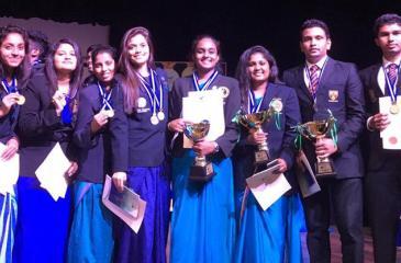 From left - Sachini Kavindi, Hiruni Weerakoon, Isuri Gunasinghe, Kisali  Mukadange, Samadhi Attanayake (girls team captain), Avindi de Silva, Kevin  Wijesundara (boys team captain) and Nirmana Athauda