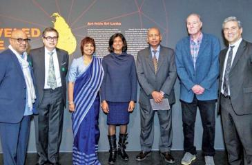 From left: Exhibition Designers Ravi Gunewardena and Frank Escher; Consul General Swarna Gunaratne; Curator Dr. Thushara Bindu Gude; Deputy Consul Asoka Godawita, Curator Dr. Robert L. Brown; and LACMA Director Michael Govan.
