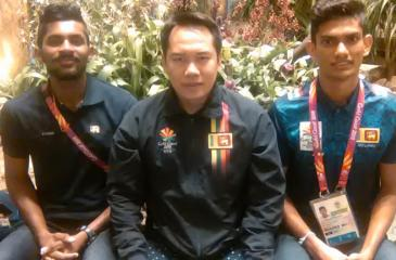 Tony Wahyudi with two promising shuttlers Sachin Dias and Buwaneka Gunatilleka