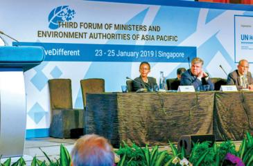 President Maithripala Sirisena addressing the Third Forum of Ministers and Environment Authorities of the Asia Pacific in Singapore on Friday
