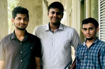 From left: M.R. Sajeer Ahamed, A.C. Saif and M.I. Inzamam - The Straw Hats