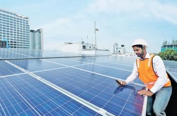 Green banking: solar panels powering Commercial Bank's Kollupitiya branch, one of 35 branches already converted.