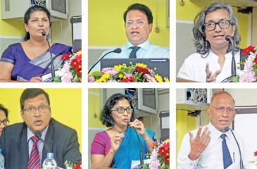 Some of the speakers at the annual sessions  of the Sri Lanka Ecomomic Association. Pix: Chaminda Niroshana
