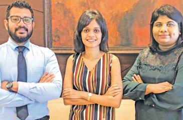 The NDB Wealth Investment Team comprising NDB Wealth Vice President Vindhya Jayasekera, (right) with Amaya Nagodavithane and Ravinath Weerakoon.