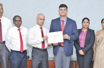 From left - Additional Finance Manager (Corporate), CEB, P. K. Kulatunga; Deputy General Manager (Information Technology), CEB, Dr. Rohantha Abeysekera;  Finance Manager, CEB, T. K. Liyanage; General Manager, CEB, S. D. W. Gunawardana; Country Manager, Sri Lanka and the Maldives, Mastercard, R. B. Santosh Kumar;  Senior Specialist - Account Management, Mastercard, Sheranga Perera; Additional General Manager (Corporate Strategy), CEB, N. W. Kumudinie Herath and System Analyst, CEB, Ms. Champika Hettiarachchi