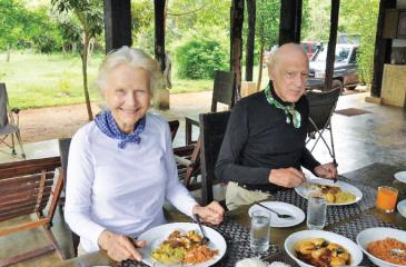 Lady Valda Ondaatje and Sir Christopher Ondaatje...Breakfast Outside Wilpattu National Park