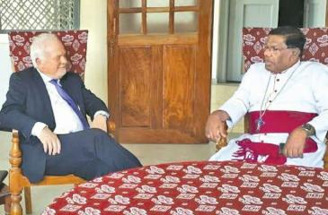 Ambassador Gaustadsæther with His Lordship Rev. Monsignor Justin Bernard Gnanapragasam - Bishop of Jaffna.