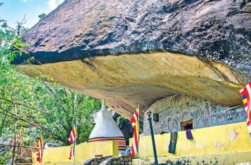 ARRESTING SIGHT: The exterior view of the Rakkiththakanda cave temple