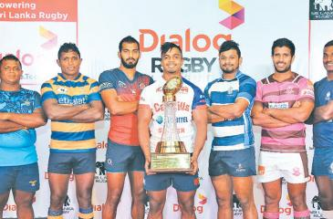 The captains from left: Lahiru Udayanga (Air Force SC), Kavindu Perera (CR and FC), Richard Dharmapala (Kandy SC), Thilina Weerasinghe (Navy SC), Niroshan Fernando (Havelock SC), Udara Sooriyapperuma (Police SC), Upul Abeyratne (Army SC). Absent: Yoshitha Rajapaksa (CH and FC)