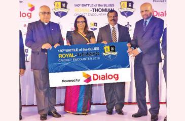 Rev. Marc Billimoria the Warden, S.Thomas' College (left), Amali Nanayakkara Group Chief Marketing Officer, Dialog Axiata and BA Abeyratne the Principal of Royal College at the sponsorship launch of the 140th Battle of the Blues cricket encounter to be played on March 7, 8 and 9 at the SSC ground