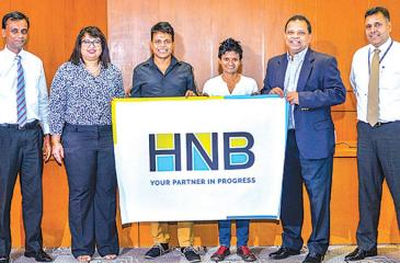 From left: Head of Marketing, HNB Chammika Weerasinghe, Chief Human Resource Officer/ Deputy General Manager, Human Resources, HNB, Chiranthi Cooray, Johann Peries, Jayanthi Kuru-Utumpala, Managing Director/CEO, HNB Jonathan Alles and Deputy General Manager, Retail Banking, HNB, Sanjay Wijemanne.