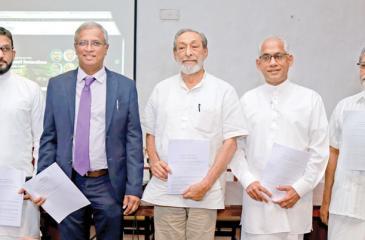 State Minister Eran Wickremaratne with MPs Tharaka Balasuriya, M.A. Sumanthiran, Vasudeva Nanayakkara and Vidura Wickramanayake (Pic: Malan Karunaratne)