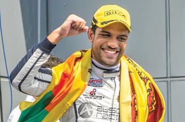 Eshan Pieris with the Sri Lanka flag
