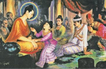 Young Prince Rahula prompted by his mother to ask for his inheritance, left behind by the Buddha after His renunciation