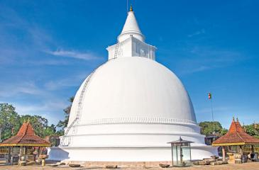 The renovated Seruvila stupa, after over thousand years in isolation which enshrines the relic of Buddha's Lalata Dathu (forehead bone)