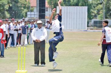 A fast bowling aspirant in action