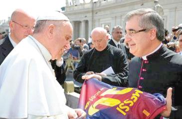File photo of Pope Francis meeting officials of Spanish football club Barcelona at the Vatican