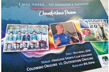 The souvenir that will be given to fans that depicts Chandrishan's deeds and achievements over an illustrious period from 1982 to '95 that includes victory at the Internationally famous Hong Kong Sevens. His team mates were CP Abeygunawardena, Hisham Abdeen, Saman Jayasinghe, Len de Silva, Chula Dharmadasa, Nalin de Silva, Rohantha Peiris and Hubert Ryan