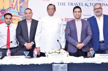 From left: Managing Director, CDC Events and Travels (Pvt) Ltd, Imran Hassan, President, Sri Lanka Association of Inbound Tour Operators, Harith Perera, chief guest Minister, Tourism Development, Wildlife and Christian Religious Affairs, John Amaratunga, Chairman, Sri Lanka Tourism Promotion Bureau and Sri Lanka Tourism Development Authority, Kishu Gomes and Chairman, Sancharaka Udawa 2019, Nishad Wijetunga at the launch of Sancharaka Udawa.