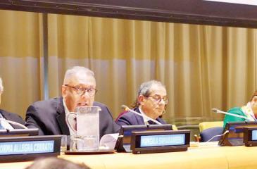 Finance Minister Mangala Samaraweera at the UN ECOSOC Financing for Development Forum in New York.