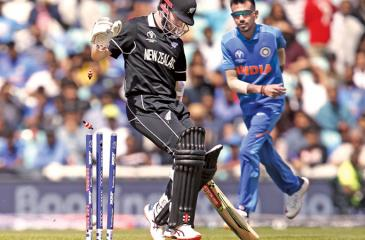 Chief Scores   India 179 in 39.2 overs (HH Pandya 30, Ajay Jadeja 54, Trent Boult 4 for 33)   New Zealand 180 for 4 in 37.1 overs (Kane Williamson 67, Ross Taylor 71)