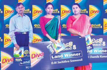 From left: Diva Idame Vasanawa land recipients - W.J. Fernando, Suchithra Sevvandi and Chamila Kumari.
