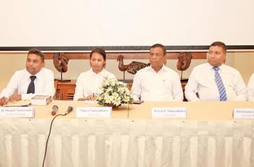 The head table. From left: General Manager Kapila Rajapakshe, General Manager Dr. Mangala Amarasinghe, Directress Punya Nanayakkara, Chairman W. G. Eddie Gunapala Nanayakkara, General Manager Parakrama Girihagama, Chief Finance Officer Nalin Silva.