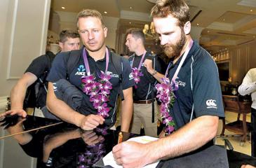 New Zealand captain Kane Williamson arrives with his team in Colombo