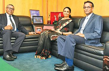 The KPMG Leadership Team. Managing Partner Reyaz Mihular,  Partner – Deputy Head of Audit, Head of Banking Services and Markets,  Mrs. Ranjani Joseph and Partner – Head of Audit, Insurance, Suren Rajakarier.