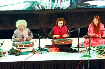 Pandit Shiv Kumar  Sharma and his troupe of musicians in performance at the cultural evening