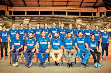 The Sri Lanka volleyball team: Standing back row from left: Dilusha Sajeewani, Ashani Chamodika Jayathunga, Amani Kaushalya, Ruwani Thakshala, Anuththara Sandamali, Ayesha Madurika, Kaveesha Lakshani, Sanjeewani Karunaratne, Hashini Lakshika, Apsara Sewmali, Thilini Wasana, Kanhana Chathurani and Dineshika Ranathunga. Seated: Renuka Nilmini (team Manager), Amila Wijepala (trainer), Roberto Sepero (coach), Ranjith Siyambalapitiya (MP and President Sri Lanka  Volleyball Federation), AS Nalaka (General Secreta