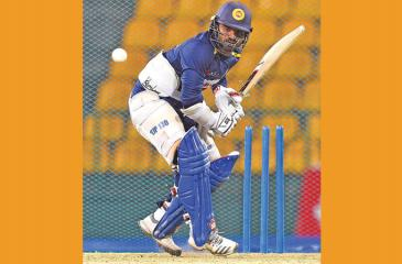 Kusal Perera bats at a practice session at Pallekele ahead of today's T20 match against New Zealand
