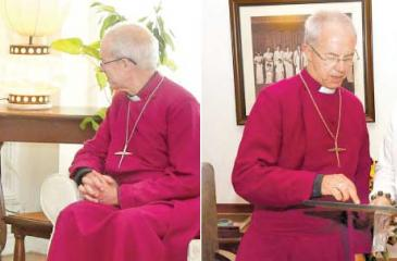 Archbishop Welby meets with Prime Minister Ranil Wickremesinge and Opposition Leader Mahinda Rajapaksa.