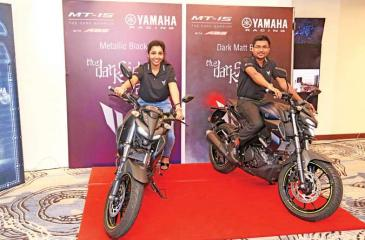 At the launch of the Yamaha MT-15