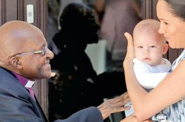 Archbishop Desmond Tutu meets baby Archie for the first time