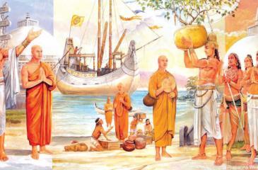 Prince Aritta obtaining a sapling of the Bo Tree in Buddha Gaya