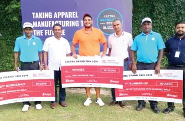 Winners from left: B.A. Sanjeewa (2nd runner-up), Rohan de Silva (Chairman Apparel Technologies) Sachin de Silva (winner), G.K. Sudath Kumara (Treasurer Sri Lanka Golf) JMD Indika (1st runner-up), G.M. Pradeep Kumara (Admin Executive Sri Lanka Golf)