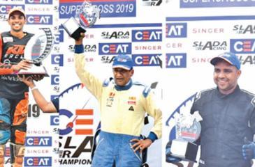CEAT racers from left Jacques Gunawardena, Upulwan Serasinghe and Malika Kuruwitaarachchi