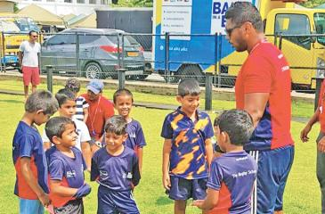 Coach of Trooper Rugby Bilal Hassen with the budding  rugby players