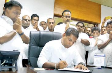 Kanchana Wijesekera assumes duties as the Tea Industry Development State Minister on Friday