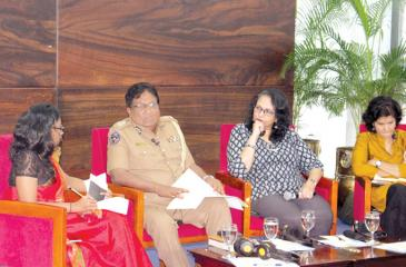 The panelists from right: Shreen Saroor, Shyamala Gomez, DIG Priyantha Jayakody and moderator Shashi de Mel.
