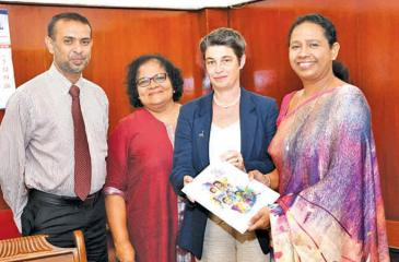 Health Minister Pavithra Wanniarachchi with UNICEF Country Representative Emma Brigham and officials