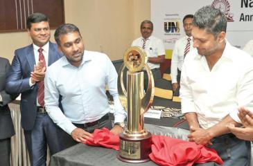 Kumar Sangakkara and Mahela Jayawardena at the trophy launch