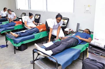 A blood donation camp in progress.