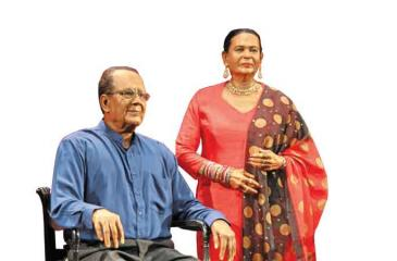 The wax statue of veteran dramatist Namal Weeramuni and his wife Malini Weeramuni at the Ancient Technology Museum - Polonnaruwa. The wax statue designed and crafted by Anura Herath.